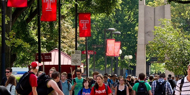 Students walking past the bell tower on Main Campus.