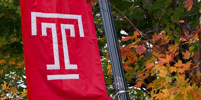 "The Temple ""T"" on a cherry flag."
