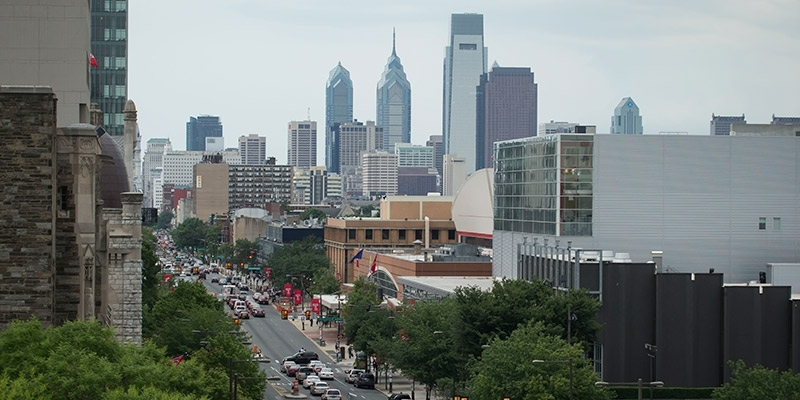The view of Center City Philadelphia from Temple's Main Campus.