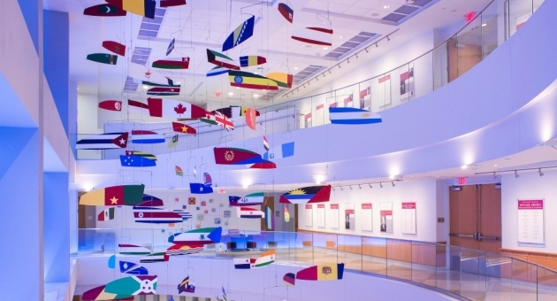 International flags in lobby of Alter Hall