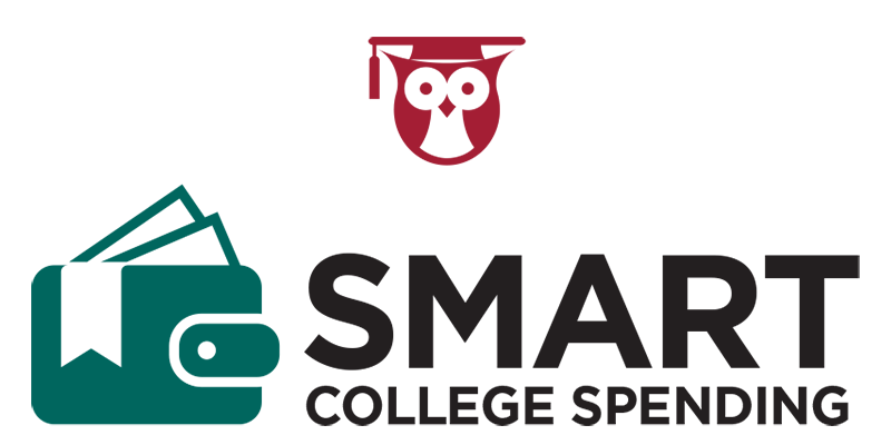An owl with a commencement cap above the words smart college spending.