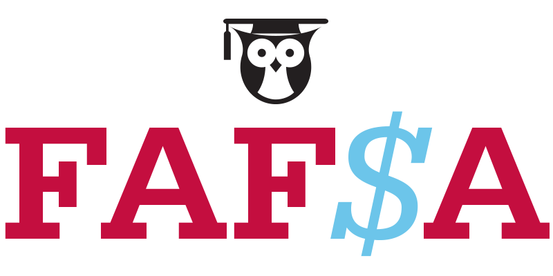 An illustration of the FAFSA acronym and an owl wearing a commencement cap.