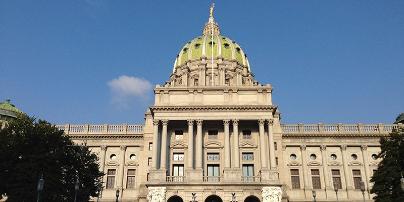 The dome of the Pennsylvania Capitol Building.