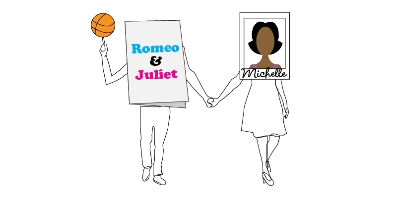 An illustration of a photograph of Michelle Obama holding hands with a Romeo and Juliet playbill.