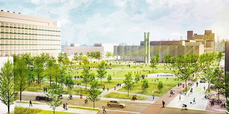 A rendering of the proposed quad on Temple's Main Campus.