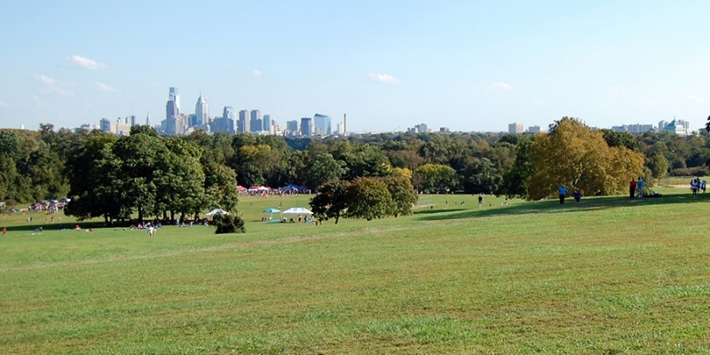 A section of Fairmount Park with Philadelphia's skyline in the distance.