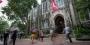 Students outside Sullivan Hall on Temple's Main Campus.
