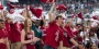 Owls fans wave cherry and white flags