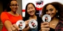 "Temple students show off their ""I donated"" buttons at the Senior Class Gift launch party."
