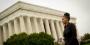 Temple graduate Jamira Burley standing in front of the Lincoln Memorial.