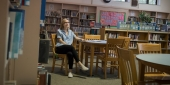 Chera Kowalski, a Temple graduate, inside McPherson Square Library.