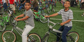 young boys on their new bicycles