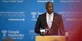 President Wingard in black suit speaking at a podium