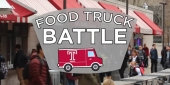"""The food wall on Temple's campus and a graphic that reads """"food truck battle""""."""