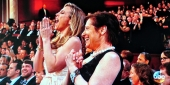 Kathy Hirsh-Pasek cheering on her son from the audience at the Oscars