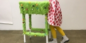 a wearable art table illusion created by a Tyler student