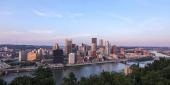 Pittsburgh skyline at sunset