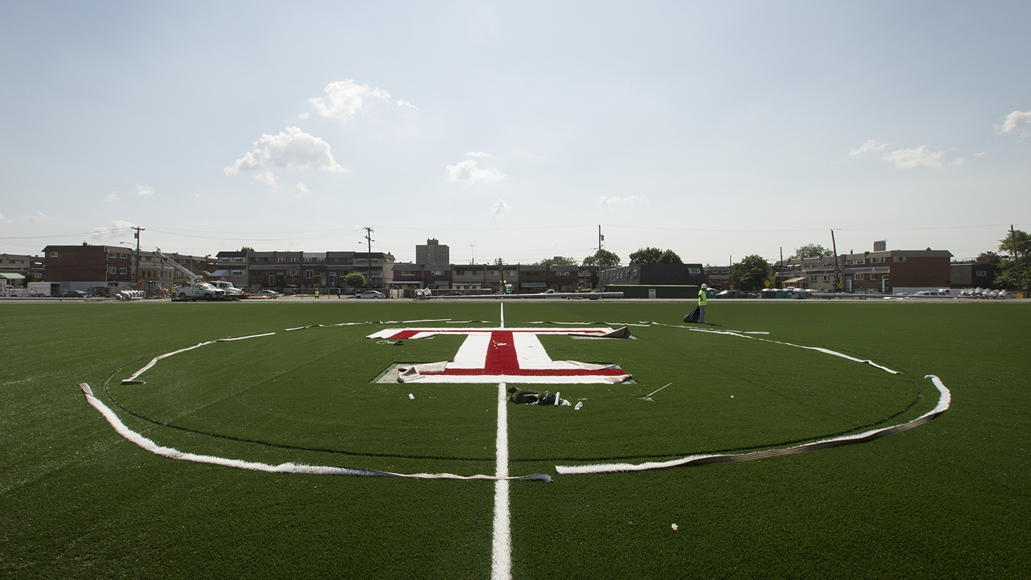 "The Temple ""T"" in the center of the new field."