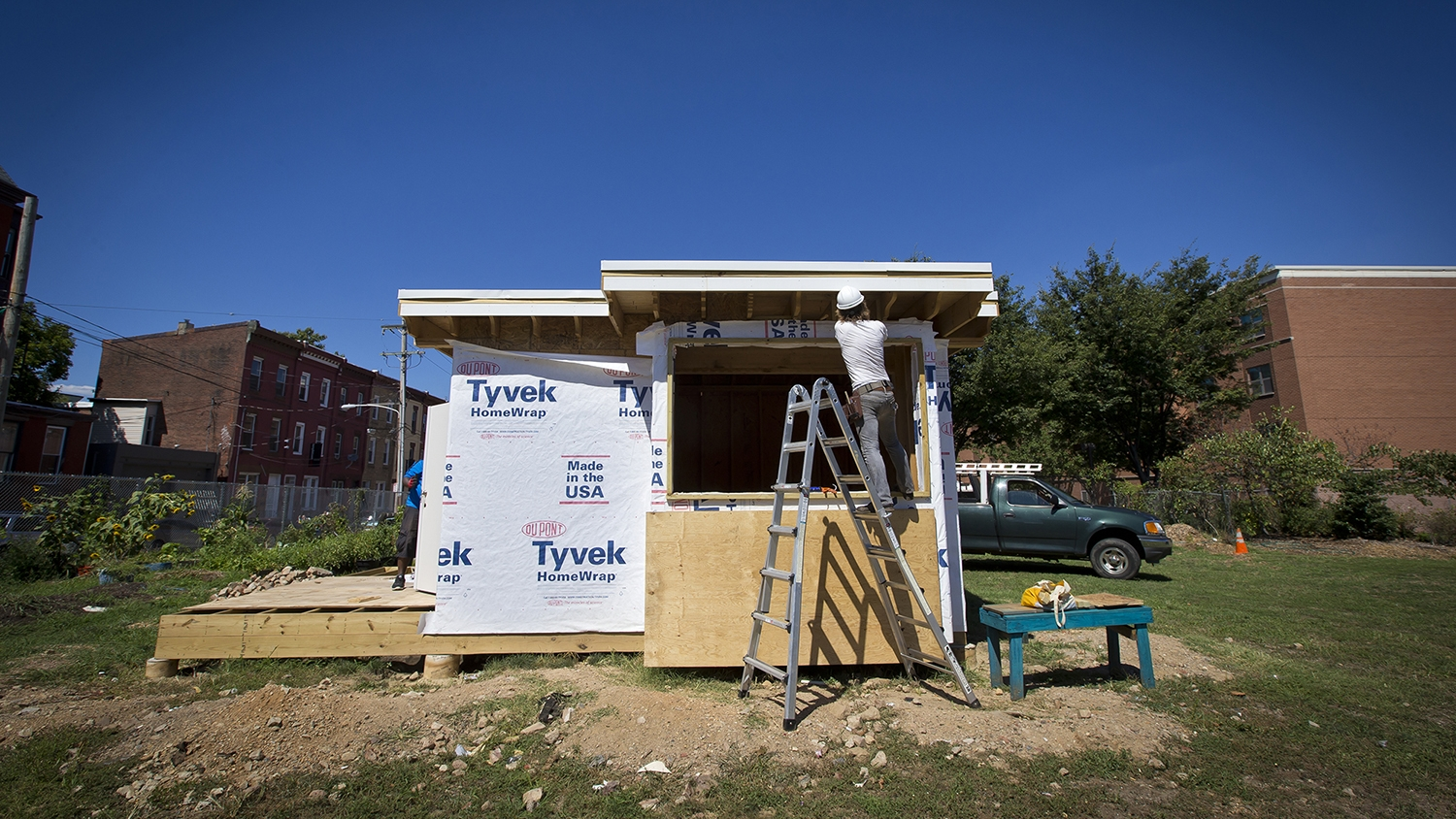 The tiny house under construction.