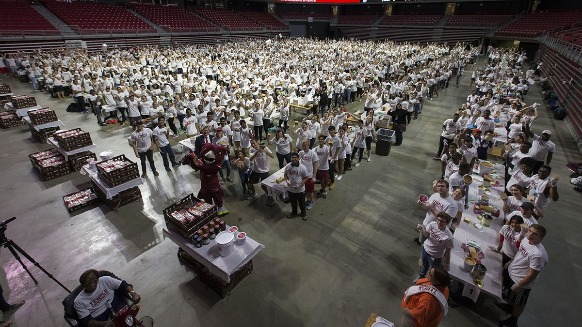 All of the volunteers at their stations in the Liacouras Center.