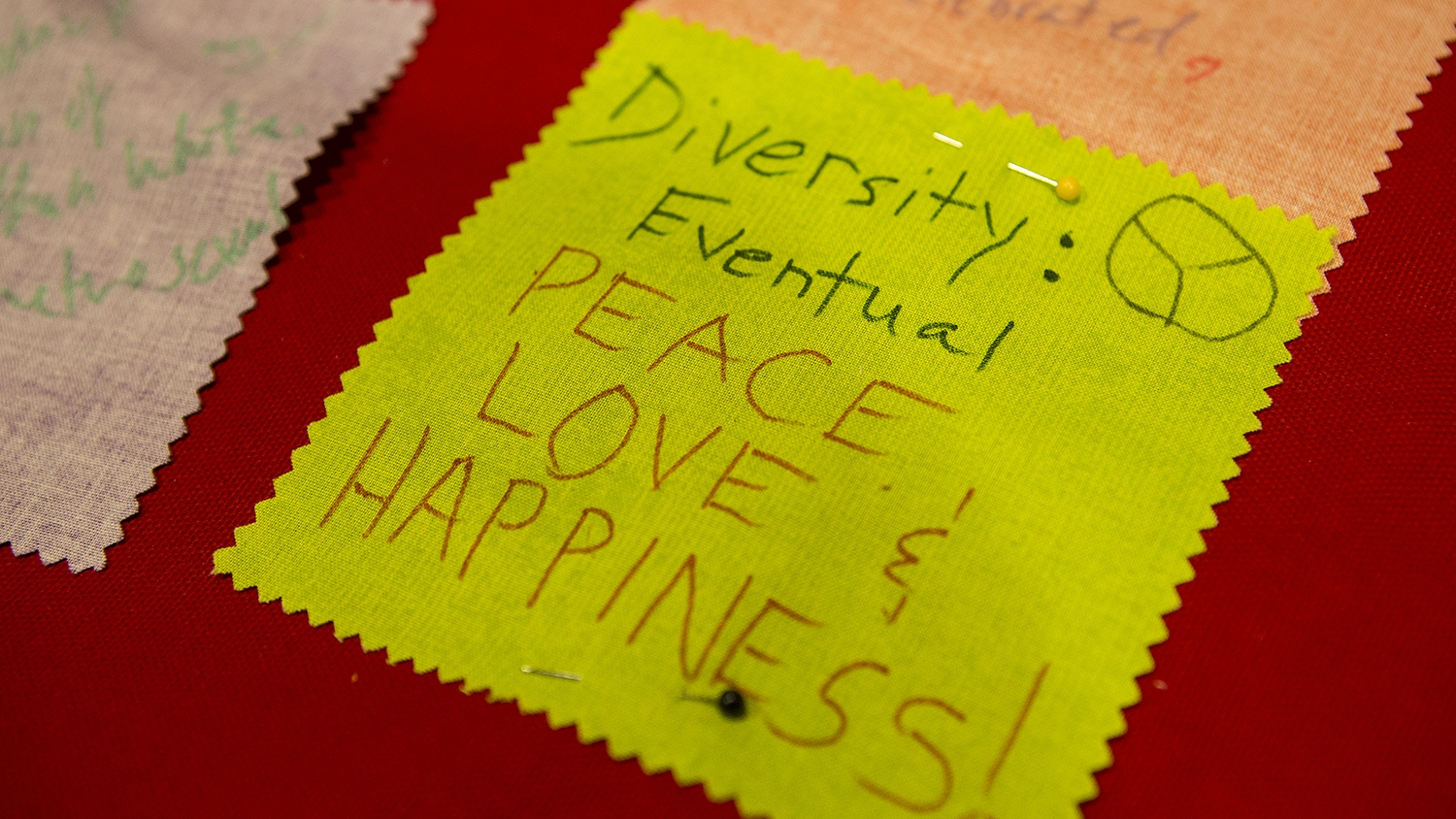 "A fabric on the diversity quilt that says ""diversity: eventual peace love and happiness."""