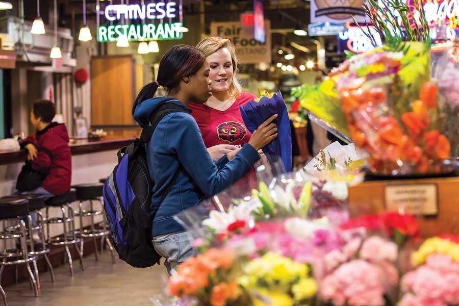 Students at reading terminal market