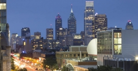 The view of the Philadelphia skyline from Temple's campus.