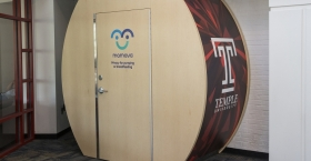 """The new lactation suite in the Student Center, emblazoned with the Temple """"T."""""""