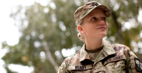 Katherine Berry wearing her Army ROTC uniform on campus