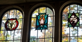 Stained glass on Temple's campus