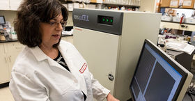 Marlene Jacobson in the lab
