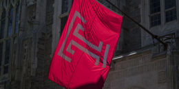Temple flag flying on campus.