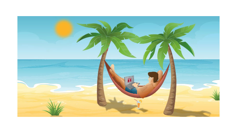 A student relaxing in a hammock with a laptop on a beach as the sun moves across the sky